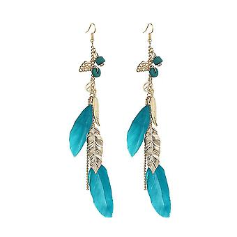 Boucles d'oreilles Bohemian Ethnic Leaf Blue Alloy Feather For Party