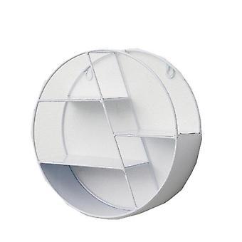 Rauta pyöreä ruudukko hylly hyllyt yhdistelmä seinä roikkuva teline varasto makuuhuone kodin koristeet VALKOINEN