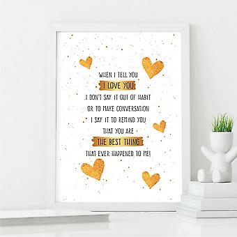 Best Friend Poem Wall Art Print   Gift for a True Friend   A4 with White Frame