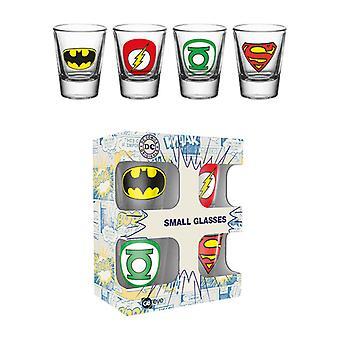 DC Comics logotyper snapsglas