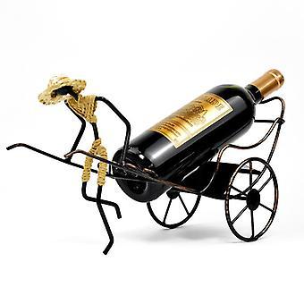 Menselijke riksja wijnrek retro ijzer wijnrek keuken thuis wijnrek wijnfles houder creativiteit