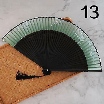 New Short Tip Flower Japanese Classical Chinese Style Silk Cloth Antique Folding Fan