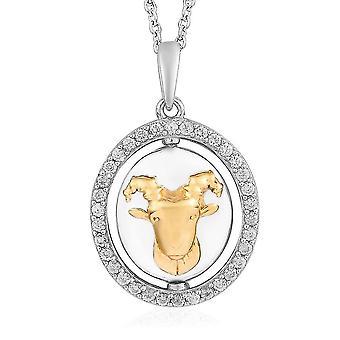 """Náhrdelník Zircon Zodiac-Capricorn pro ženy zlato a platinové pokovené stříbro 20"""""""