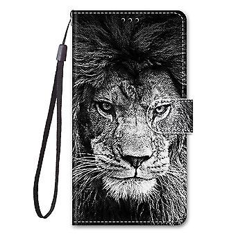 Etui pour Xiaomi Redmi Note 10 4g Peinture Cuir Housse Fermeture Magnétique Lion