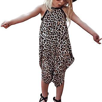 Girls Kids Print Leopard Sleeveless Top Jumpsuit Wide Leg Cute