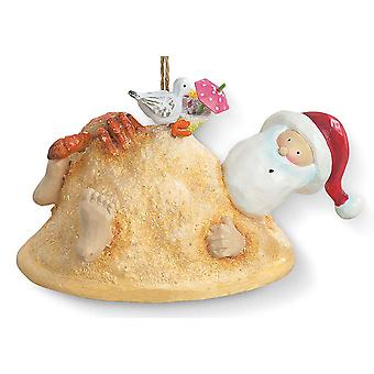 Cape Shore Santa Buried in sand with Crab on Top Christmas Ornament Resin