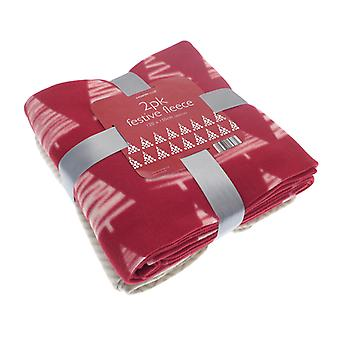 County Club Pack of 2 Festive Fleece Throws, Trees and Zig Zags
