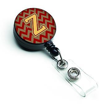 Litery Z Chevron granat i złota odznaka chowany bębnowa