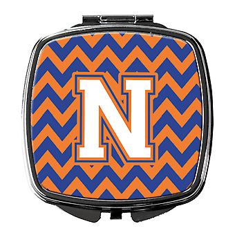 Letter N Chevron Blue and Orange #3 Compact Mirror