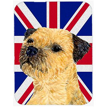 Border Terrier with English Union Jack British Flag Glass Cutting Board Large Si