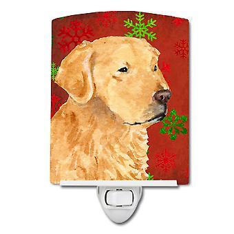 Golden Retriever rood groen Snowflake Holiday Kerstmis keramische nachtlampje