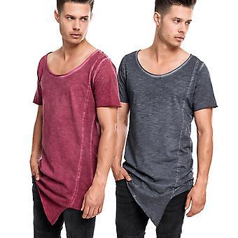 Urban classics - ASYMETRIC DYE a forma lunga t-shirt