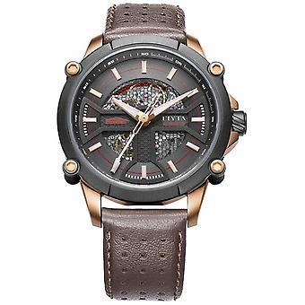 FIYTA Mens Brown Leather Strap Black Dial WGA866001.MBR Watch