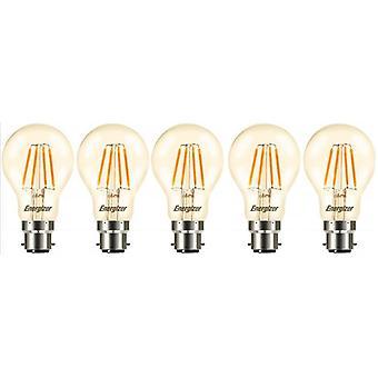 5 X Energizer GLS Globe Antique Gold Finish LED Filament Energy Saving Light Bulb B22 BC Bayonet Cap Fitting [Energy Class A+]
