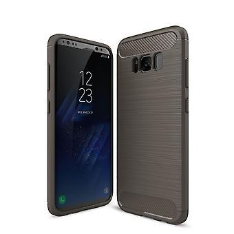 Custodia Samsung Galaxy S8 plus TPU + carbonio fibra ottica spazzolato grigio del coperchio di protezione
