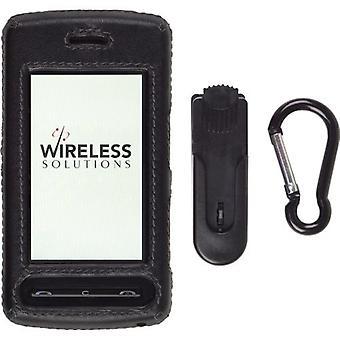 LG CU915, CU920 estuche con clip - cuero negro