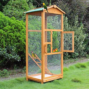 PawHut Large Wooden Bird Aviary House Cage for Budgie Canary Senegal Cockatiel Parakeet Aviary House Parrot Playing Zone with Ramp for Indoor Outdoor 68x63x165cm