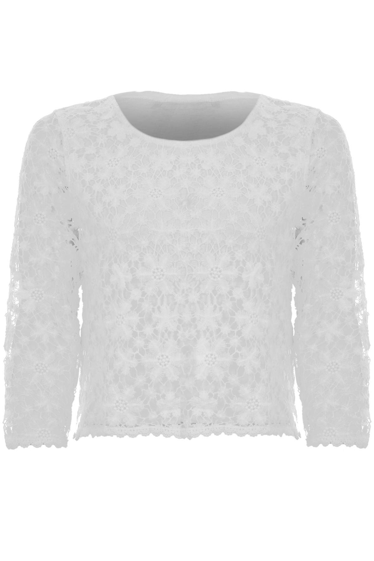 Ladies 3/4 Sleeve Floral Lace Lined Plain Back Women's Summer Crop Top