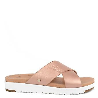 UGG Kari Metallic Rose Gold Slide