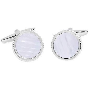 David Van Hagen Shiny cerchio martellata bordo madre di perla centro gemelli - bianco/argento