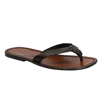 Handmade leather thongs for men with leather sole