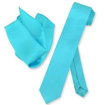Biagio 100% zijde mager stropdas effen Mens nek Tie & zakdoek