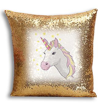 i-Tronixs - Unicorn Printed Design Gold Sequin Cushion / Pillow Cover for Home Decor - 6