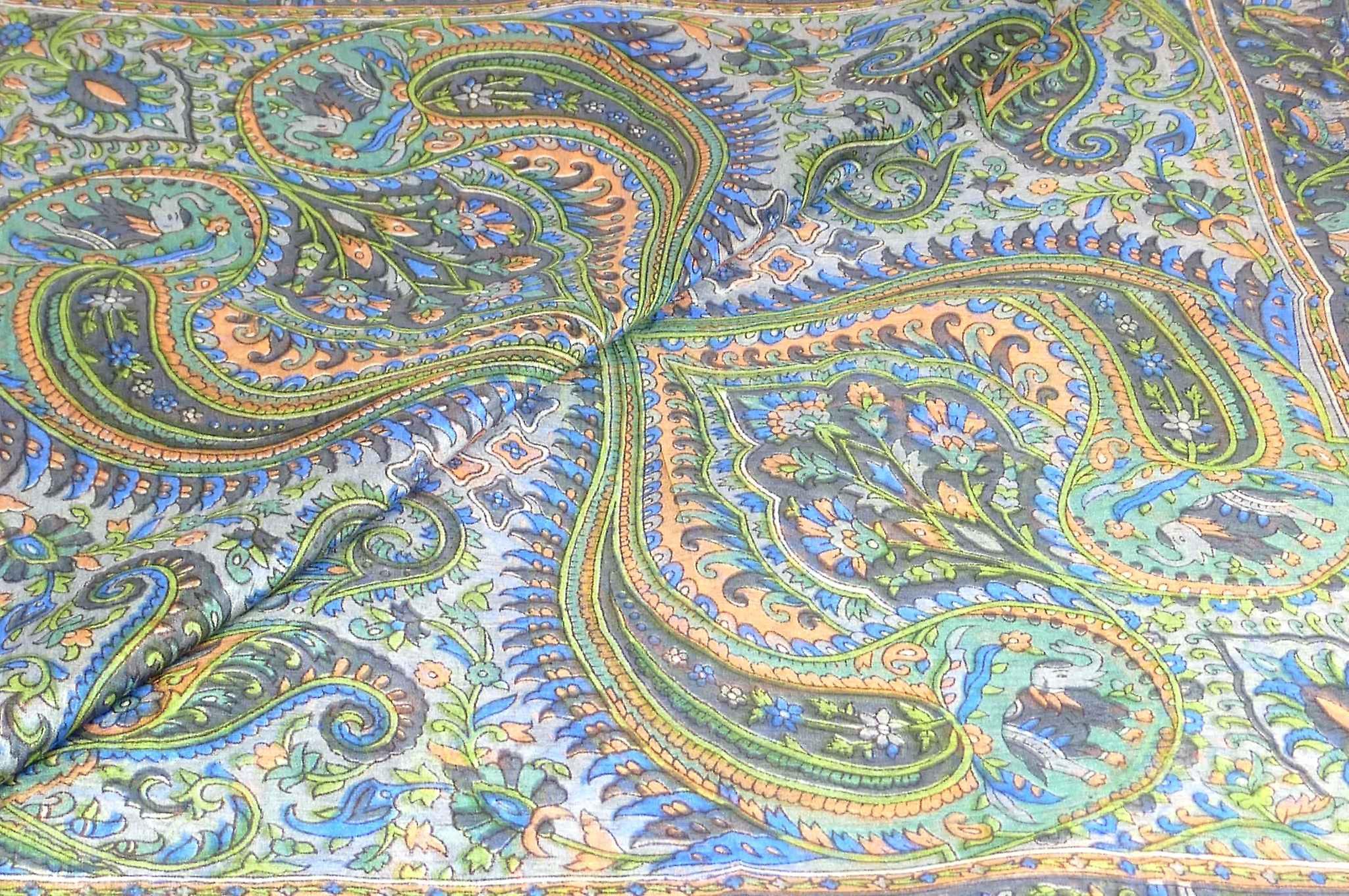 Mulberry Silk Traditional Square Scarf Zazim Charcoal by Pashmina & Silk