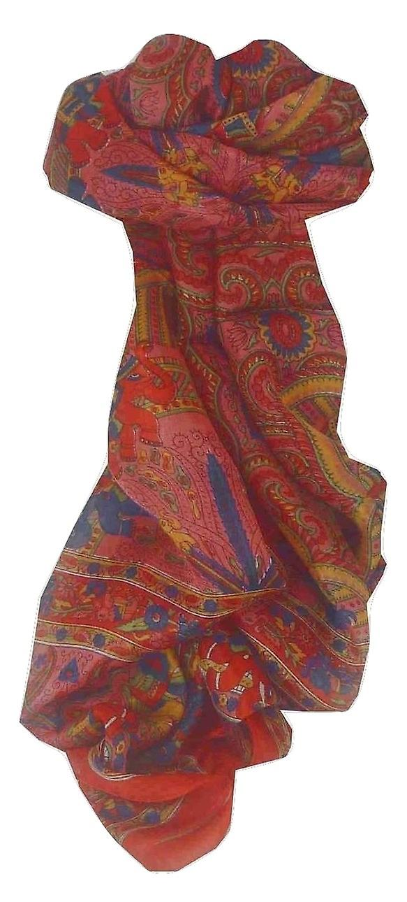 Mulberry Silk Traditional Long Scarf Maluji Red by Pashmina & Silk