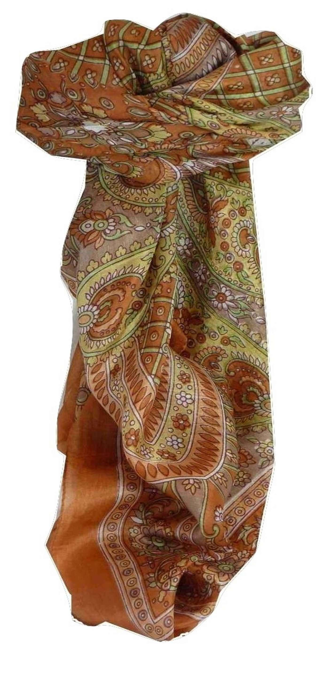Mulberry Silk Traditional Square Scarf Vaan Copper by Pashmina & Silk