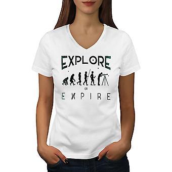 Astronomy Evolution Women WhiteV-Neck T-shirt | Wellcoda