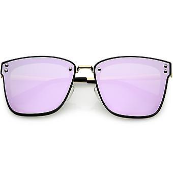 Kvinders polariseret Oversize firkantede solbriller farvede spejl linse 60mm