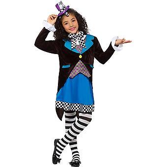 Little Miss Mad Hatter kostuum, met de jurk, meisjes Fancy Dress, kleine leeftijd 4-6