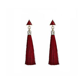 Womens Red Drop Quaste Troddel Ohrringe Abend Deß tragen