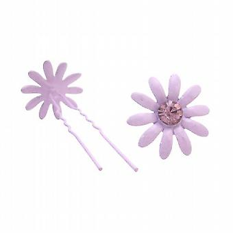 Amethyst Flower Prom Hair Pin w/ Amethyst Crystals Wedding Hair Pin