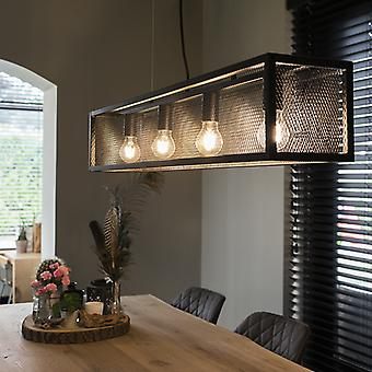 QA-QA Industrial lampada a sospensione nera con maglia 4-luce - Gabbia
