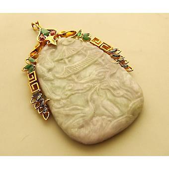pingente de ouro 18 quilates com jade
