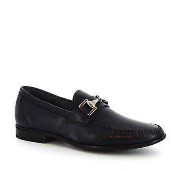 Leonardo Shoes Men's handmade bit loafers in blue calf leather