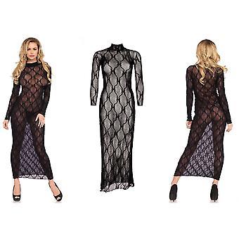 Leg Avenue Lingerie Black Bow Lace Long Sleeved Sheer See Through Dress (86401)