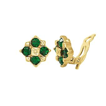 Eternal Collection Exquisite Emerald Crystal Gold Tone Stud Clip On Earrings