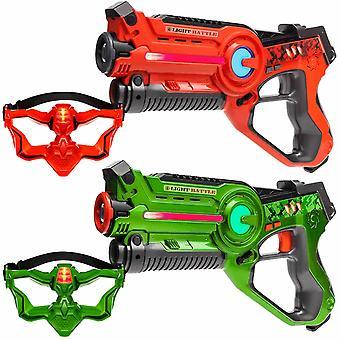 2 Laser Pistols + 2 VIP masks (green, orange)