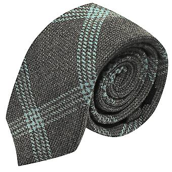 Slate Grey & Blue Birdseye Weave Check Tie