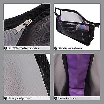 シャニブラックメッシュトラベルオーガナイザーバッグセット - 様々なサイズのテンシースルージッパー付き化粧品とトイレタリーポーチ - 10セット