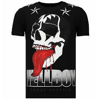Hellboy-rhinestone T-shirt-svart