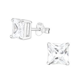 Carré - clous d'oreilles classique de l'argent Sterling 925 - W996X