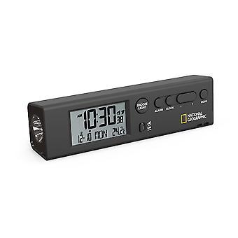 NATIONAL GEOGRAPHIC 4in1 World Time Clock Travel Alarm Clock Thermomètre et lampe de poche