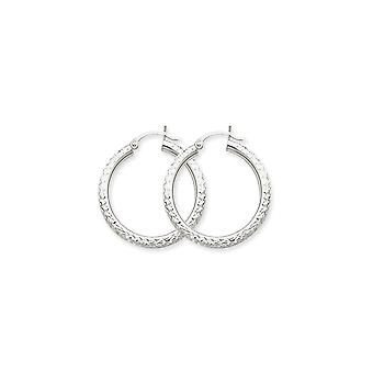 10k White Gold Hollow Polished Hinged post Sparkle Cut 3mm Round Hoop Earrings Jewelry Gifts for Women