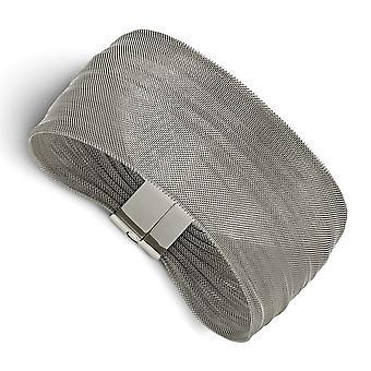 Pulseira de malha polida de aço inoxidável 7 polegadas de joias para mulheres