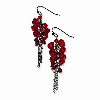 Gancho de pastor negro plating negro plateado rojo cristal con cuentas racimo largo gota colgante pendientes regalos de joyería para las mujeres