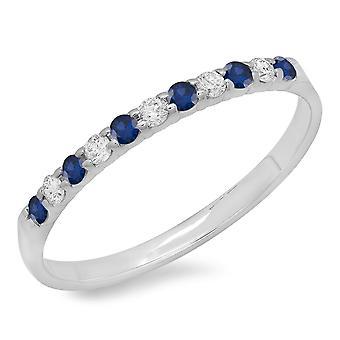 Dazzlingrock Collection 14K Round Blue Sapphire & hvit diamant Ladies Anniversary bryllup band, hvitt gull